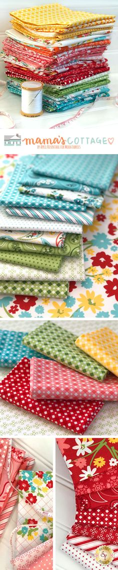 Mama's Cottage by April Rosenthal of Prairie Grass Patterns is a cheerful collection featuring bright colors, happy florals, and pretty paisleys from Moda Fabrics available at Shabby Fabrics.