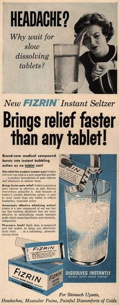 Unknown's Fizrin Instant Seltzer – Headache? Why wait for slow dissolving tablets (1958)