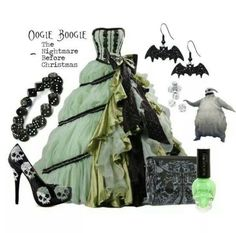 """Oogie Boogie - The Nightmare Before Christmas (Ballgown)"" I sense a Halloween Prom in my future Disney Inspired Outfits, Disney Outfits, Disney Style, Disney Clothes, Disney Dresses, Disney Fashion, Bijou Halloween, Estilo Tim Burton, Nightmare Before Christmas Wedding"