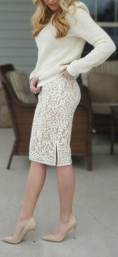 Ivory sweater + lace pencil skirt.