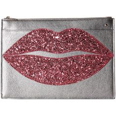 Charlotte Olympia Pouty Clutch (Silver/Rose Quartz Metallic... ($545) ❤ liked on Polyvore featuring bags, handbags, clutches, metallic clutches, faux-leather handbags, zip purse, silver glitter purse and red handbags