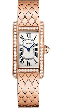 pink gold case set with 48 brilliant-cut diamonds and crown set with a brilliant-cut diamond - – Tank Américaine watch – Small model, pink gold, diamonds – Cartier - Cartier Watches Women, Watches For Men, Women's Watches, Dress Watches, Rolex Datejust, Patek Philippe, Cartier Tank Americaine, Brand Name Watches, Pink And Gold