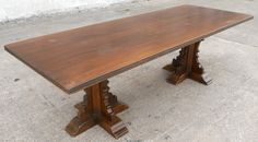 antique tudor style large oak walnut refectory dining table