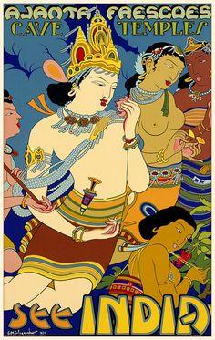 Ajanta Frescoes Vintage Poster Print India by FoxgloveMedia
