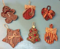 Cabin Christmas Quilted Ornaments, By: Jubilee Creative Studio Quilted Christmas Ornaments, Cabin Christmas, Fabric Ornaments, Christmas Sewing, Christmas Gift Wrapping, Primitive Christmas, Handmade Ornaments, Rustic Christmas, Primitive Ornaments