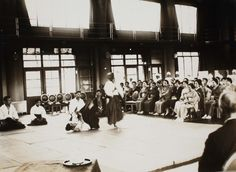 Some wonderful photos of Aikido Founder Morihei Ueshiba and members of the Kobukan Dojo (see what famous figures you can spot!) demonstrating at the Atsushi Women's Nursing Association (篤志看護婦人会例会) on July 8th 1935. From the archives of the Red Cross.