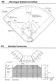 Softball backstop detailed design of field layout and fence design. Little League Baseball, Baseball Field, Baseball Training, Baseball Pitching, Sports Training, Baseball Invitations, Nursing Research, Baseball Pictures, English Fun