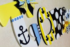 Yellow Navy and White Preppy Nautical Themed Hand Painted Wooden Letters by KraftinMommy