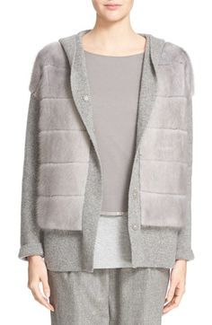 Fabiana Filippi Hooded Cashmere Sweater with Genuine Mink Fur Overlay