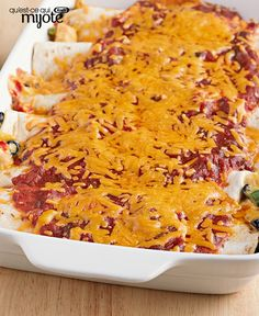 A creamy mixture of chicken and vegetables is rolled in tortillas, topped with salsa and cheese and baked into a delicious Mexican meal. Tortillas, Enchiladas, Mexican Food Recipes, Healthy Recipes, Ethnic Recipes, Salsa, Enchilada Recipes, Mets, Casserole Recipes