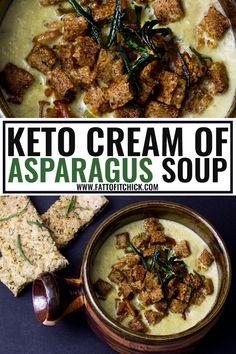 Keto Cream of Asparagus Soup with Low Carb Focaccia