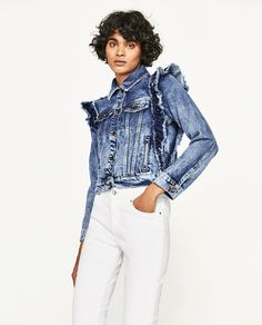 Image result for ruffled denim jacket