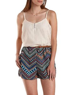 bab92b015478 Crochet   Tribal Print Romper by Charlotte Russe - Ivory Combo