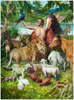 Adam names the animals in the garden of Eden. Adam is surrounded by a group of animals of varying types. Harry Anderson painting.