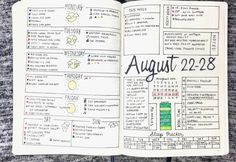 Bullet Journal Weekly Layout - August 22-28, 2016: Spread template downloads, videos, and more at bulleteverything.com
