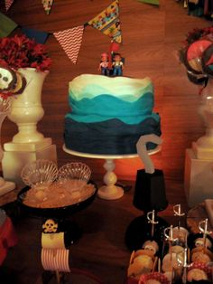 Ombre cake at a Jake and the Neverland Pirates birthday party! See more party planning ideas at CatchMyParty.com!
