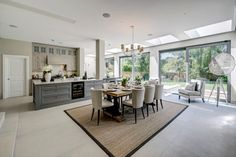 Transitional Classic Kitchen Design Design Ideas, Pictures, Remodel and Decor Open Plan Kitchen Dining Living, Living Room Kitchen, Kitchen Tops, New Kitchen, Kitchen Ideas, Kitchen Design Gallery, Classic Kitchen, Contemporary Kitchen Design, Home Room Design