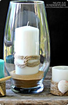 DIY Home Decor | Nautical Candles with Rope and Shells {a Pottery Barn Knock Off}
