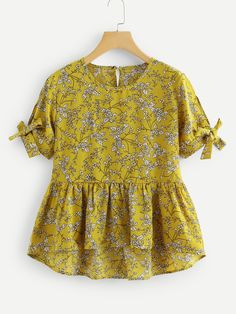 Stagioni Fashion for Women, Blouses for Women. Item: Knot Sleeve Floral Print Dip Hem Top for Women Teen Fashion Outfits, Fashion Dresses, Girl Outfits, Kurta Designs Women, Blouse Designs, Kids Dress Wear, Stylish Dresses For Girls, Retro Mode, Frock Design