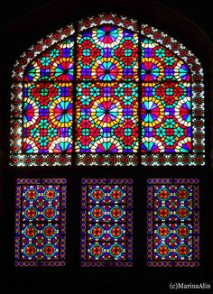Stained glass in Dolat Abad garden wind tower building in Yazd, Iran