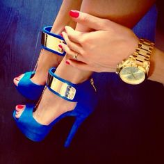 Match with shoes like these Blue shoes with gold ankle strap.