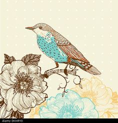 vector illustration of a bird and blooming flowers in a vintage style © Ingram Publishing / Alamy