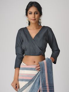 Charcoal Natural-dyed Cotton Blouse - All About Saree Jacket Designs, Cotton Saree Blouse Designs, Saris, Stylish Blouse Design, Designer Blouse Patterns, Indian Designer Outfits, Indian Outfits, Cotton Blouses, Bollywood