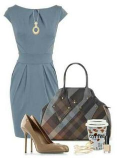 Blue drapery dress, nude strappy heels, brown tailored jacket