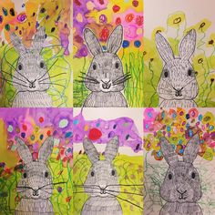 Kindergarten Spring bunnies today we discussed spring and then made a mixed media bunny scene. We talked about perspective and how we would need to be crouching and looking into the bunnies face to get this view. Thanks for this great idea! Kindergarten Art Lessons, Art Lessons Elementary, Elementary Teaching, Upper Elementary, Elementary Schools, Art 2nd Grade, Club D'art, Lapin Art, Classe D'art