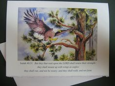 Wings of Eagles, Eagle art watercolor print Note card Florida Mount up on Wings of Eagles Encouragement via Etsy @waterrox