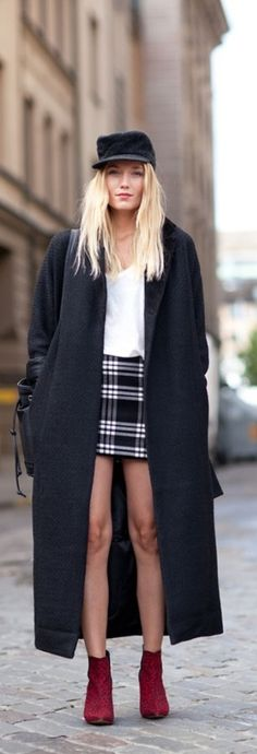 Paris Street Style: military coat, army cap, red booties, plaid mini skirt and white top