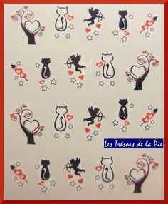 STICKERS ONGLES WATER DECAL (x20) - Nail art - Chats & anges - Noir & rouge