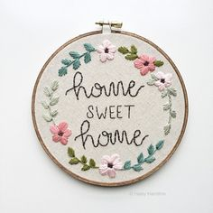 Home Sweet Home Hand Embroidery Hoop Art by Haley Hamilton Art on Etsy. Home Sweet Home | Embroidery Hoop Art | Housewarming Gift | Home Sweet Home Sign | Home Sweet Home Embroidery | New Home Gift | Home Sign | Etsy Seller | Etsy Shop | Home Decor | Home Sweet Home Wall Art
