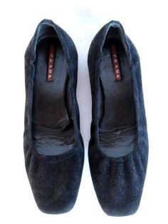 PRADA{ Black SUEDE SQUARE TOE BALLET FLATS SHOES~36.5 | eBay