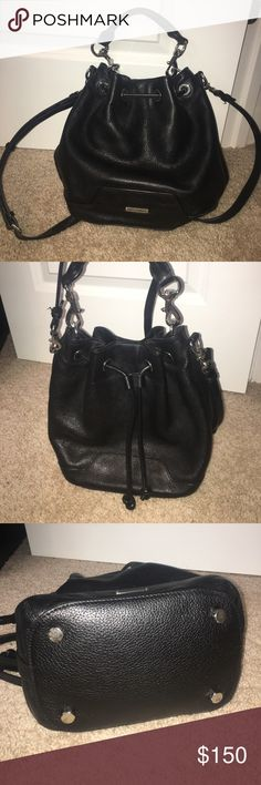"Rebecca Minkoff Fiona Leather Bucket Bag 100% authentic Rebecca Minkoff. Removable rolled top handle, 3.5"" drop and removable, adjustable shoulder strap, 22.5"" drop. 10.8""H x 8.8""W x 5.8""D; weighs 1 lb. 10.1 oz. In great condition, barely used it. I bought it a few months ago but then found another bag I liked more, so this one has just been hanging in my bedroom. Like new!! No scratches or damage. Originally paid $250 from RM website Rebecca Minkoff Bags Crossbody Bags"