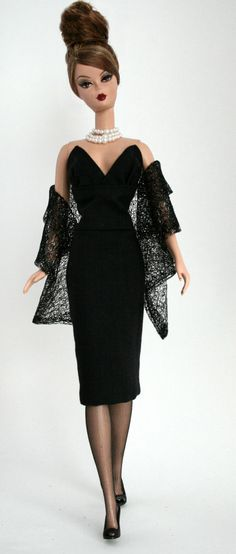 Midnight Black Dress and Stole for Silkstone Barbie
