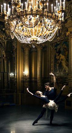 Dorothée Gilbert & Hugo Marchand in the Foyer of the Opera Garnier | Photo by James Bort...
