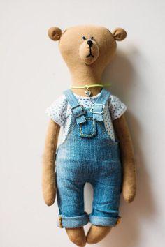 Brummi bear in denim overalls and t-shirt - Teddy bear - soft toy bear - coffee toy -