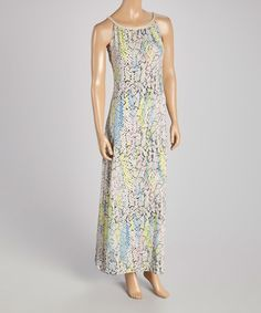 Another great find on #zulily! Blue & Pink Python Maxi Dress by Nina Leonard #zulilyfinds