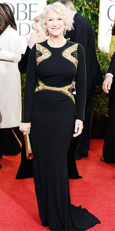 Helen Mirren in long sleeve Badgley Mischka gown at Golden Globes 2013. I want to look as great as her when i am older