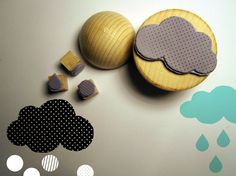 6 rubber stamps  CLOUDS by Citoyennes on Etsy, $16.00