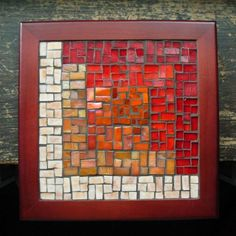 Asymmetric Log Cabin Trivet by Margaret Almon Mosaic Art, Mosaic Tiles, Quilt Blocks, Stained Glass, Cabin, Texture, Quilts, Creative, Red