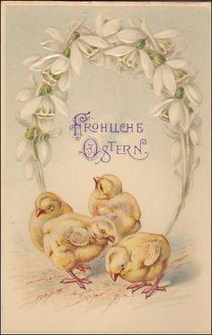 Easter Greetings  Vintage Postcard Chicks  by sharonfostervintage, $5.00