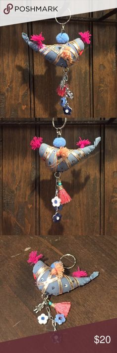 Boho Keychain Funky fabric bird with beads and sequins. Charms include Pom Pom, Tassel, silver Milagro and Vera Bradley enameled Flowers! Accessories Key & Card Holders