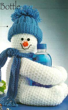 X882 Crochet PATTERN ONLY Snowman Bottle Huggie by BeadedBundles, $2.95