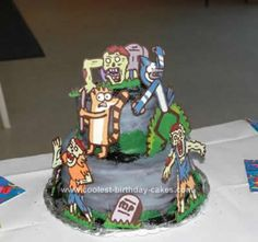 Homemade Regular Show Zombie Birthday Cake: My son was very specific about the concept for his Regular Show Zombie birthday cake this year. The best way to achieve the look of the cake was to apply