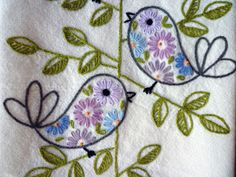 Retro Birds Hand-Embroidered Towel/Tea-Towel/Dishtowel. $20.00, via Etsy.