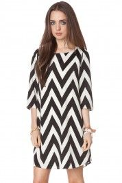 Forever zig zag shift dress in classic
