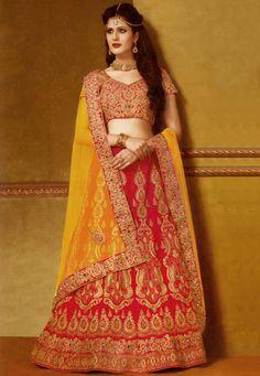 Wedding Lehenga- Fuchsia Art Silk Lehenga Choli with Dupatta