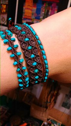 "Just this picture.- Note 2 different styles in ""earth and sky"" turquoise & brown.  It is the color, not the knots that make this."